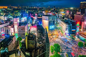 Shibuya Crossing from top view in To