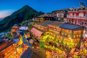 Top view of Jiufen Old Street in Tai