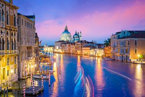 Grand Canal in Venice, Italy with Sa