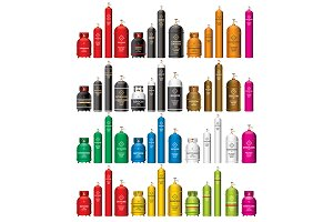 Gas Tank Cylinder Set Isolated