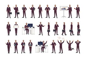 Businessman in different poses set