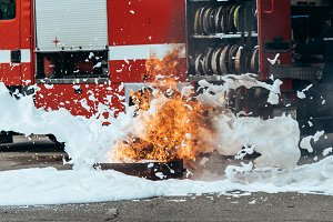 close up view of extinguishing foam,