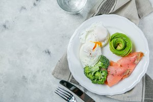 Ketogenic food concept - plate with