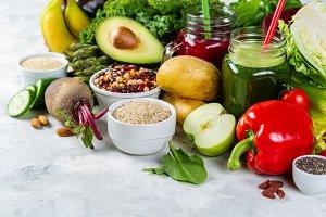 Alkaline diet concept - fresh foods