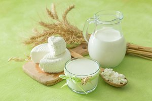 Shavuot concept - dairy products and