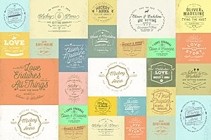20 Rustic Wedding Badge & Stickers