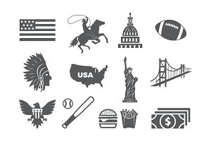 USA icon set