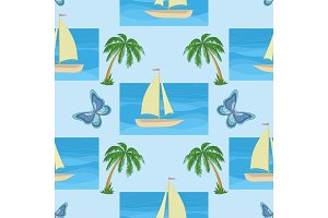 Background with a ship, palms and