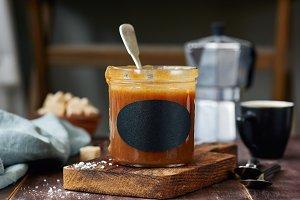 Salted caramel sauce in jar