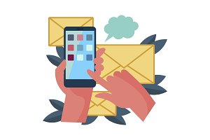 Smart phone and mail messages vector