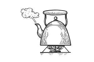 Boiling kettle teapot engraving