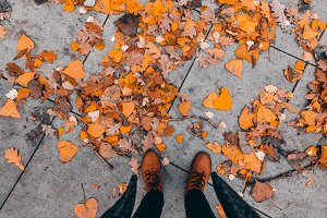 Fall, autumn, leaves, legs and shoes