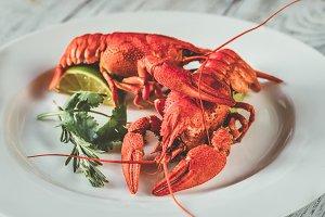 Dish of boiled crayfish