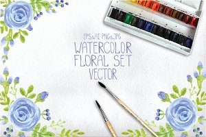 Vector watercolor blue roses set 1