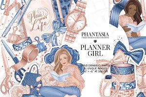 Planner Girl Watercolor Clipart