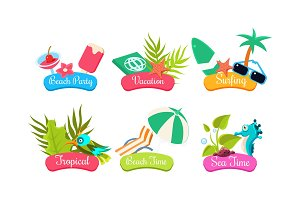 Summer travel logo template set
