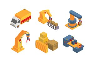 Warehouse objects and equipment set