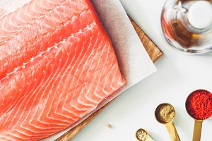 Top view on fresh salmon fillets
