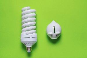 energy saving lamp and piggy bank on