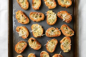 Baking Sheet With Garlic Toast