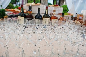 Different alcohol glasses at wedding
