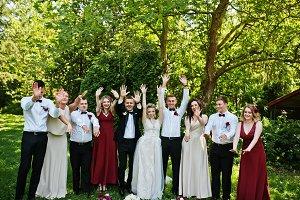Elegance wedding couple with bridesm