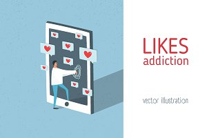 Likes addiction illustration