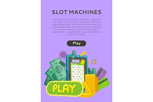 Slot Machine Web Banner Isolated