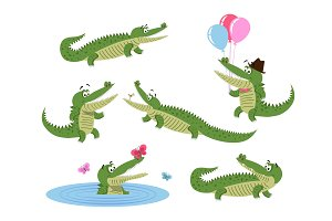 Cute Cartoon Crocodiles Isolated