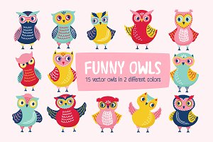 Funny cartoon owls set