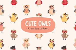 Cute owls seamless patterns