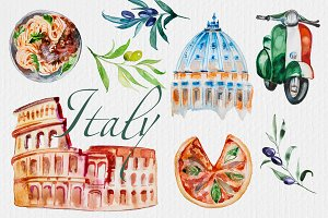 Watercolor Italy Clipart Set