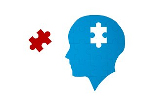 Blue jigsaw puzzle as a human brain