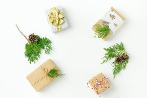 Christmas background gifts botanical
