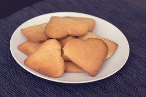 Heart-shapped cookies on a plate