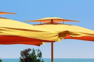 Big yellow umbrellas at the seaside
