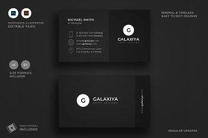 Minimal Dark Black Business Card