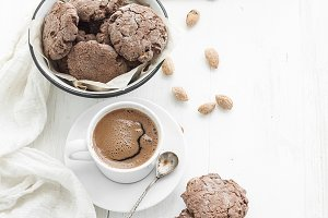 Chocolate cookies with almond