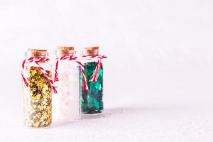 Glass bottles with Xmas sprinkles