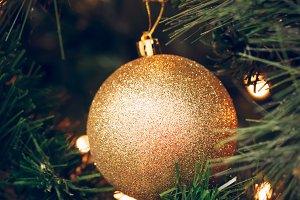 Glitter golden round and berries