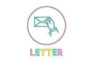 Letter Round Linear Icon with