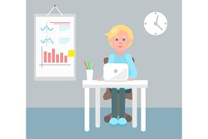 Working Office Employee Color Vector