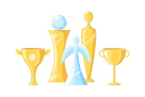 Gold and Glass Awards Set Vector