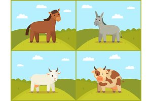 Set of Domestic Animals Color Vector