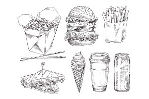 Fast food set hand drawn vector