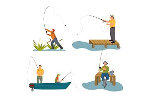 Fishery Rod in Men Hand Set Vector