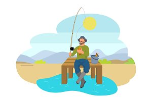 Fisherman with Fishing Rod and Fish