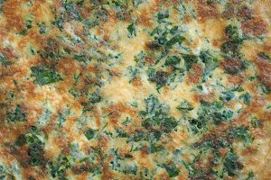 omelette made from fried beaten eggs