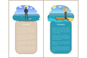 Fishing Poster Activities Set Vector