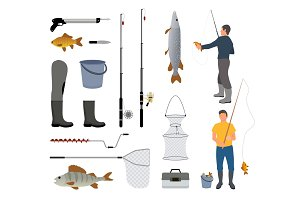 Fisherman with Fish, Fish-rod and